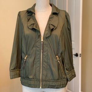 WHBM Moss green silky-feeling jacket